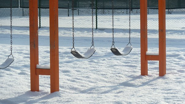 Swings, Playground, Park, Snow Covered, Outside, Winter