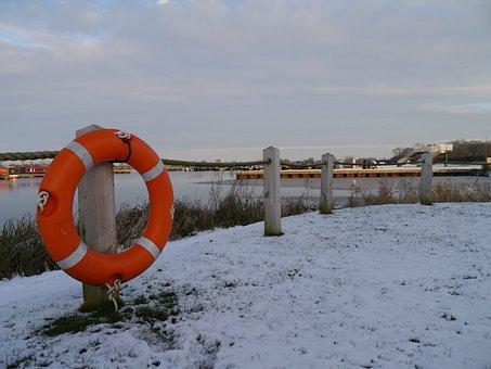 Canal, Winter, Frozen, Water, Landscape, Nature, Rural