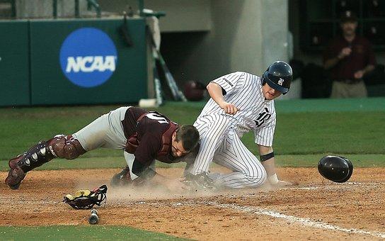 Baseball, Catcher, Action, Sliding Into Home