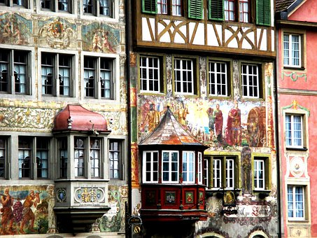 Homes, Facade, Fassadenmalerien, Bay Window, Window