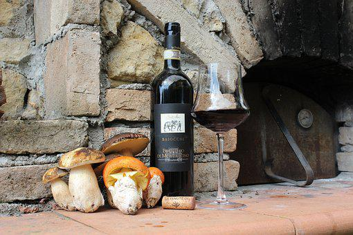 Party, Wine, Aperitif, Bottle, Glass, Red, Mushrooms