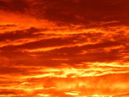 Sunset, Sun, Sky, Fire, Burns, Fiery, Red, Golden