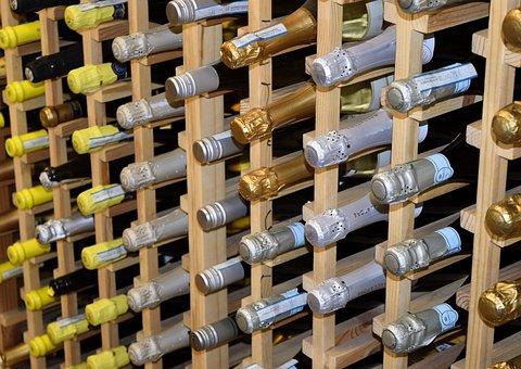 Champagne, Bottles, For Sale, Displayed, Background