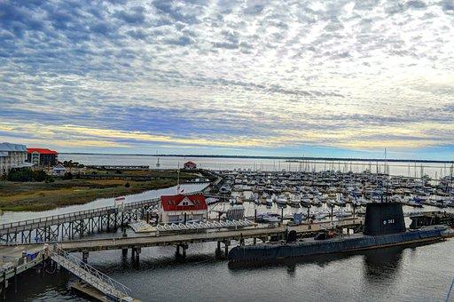 Uss, Yorktown, Charleston, South Carolina, Ship, Boat