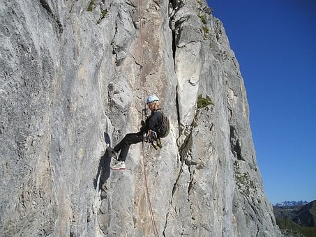 Abseil, Bersport, Rock, Climb, Mountaineer, Ropes
