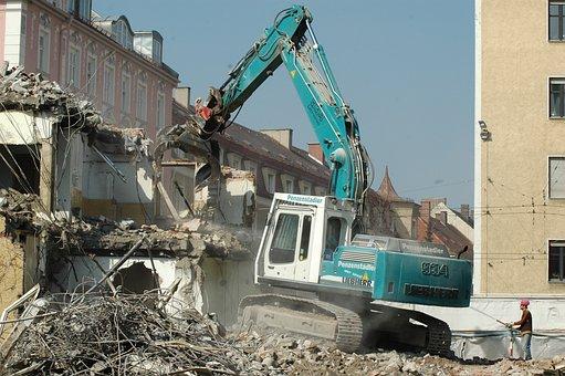 Crash, Site, Crane, Water, Construction Workers