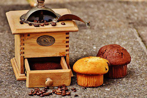 Grinder, Muffin, Cake, Coffee, Coffee Beans, Delicious