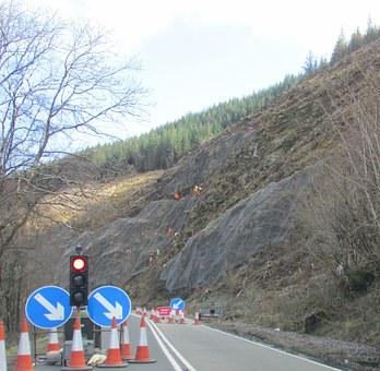 Hillside, Roadworks, Rope, Clearing, Developing, Abseil
