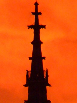 Steeple, Great, Tower, Münster, Sunset, Sun, Sky, Fire