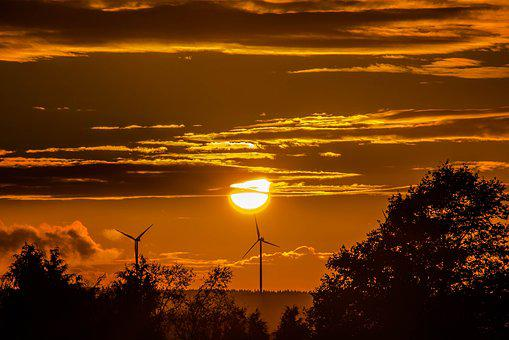 Sunset, Sun, Windräder, Clouds, Forest, Trees