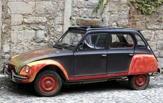 Car, 2cv, Old, Red, Symbol, Front, France, Classic