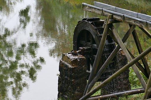 Environment, Waterwheel, Pond, Renewable Energy