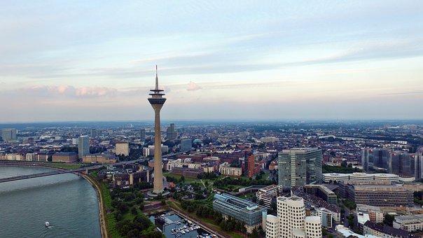 Düsseldorf, Skyline, Clouds, Rhine, Tv Tower, Sky