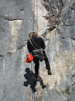 Abseil, Climb, Rope Technology, Climber, Steep Wall