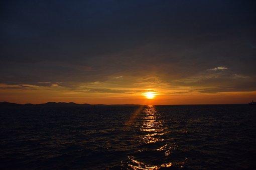 Sunset, Clouds, Sea, Summer, Adriatic, Pirovac, Coast