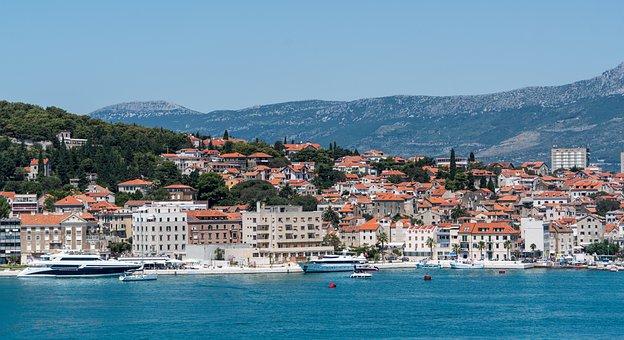 Split, Croatia, Shore, Boats, Landscape, Mountains