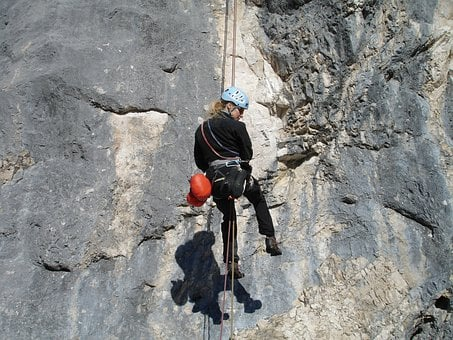 Abseil, Climb, Climber, Rope Technology, Steep Wall