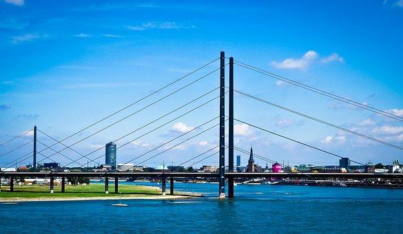 Architecture, Bridge, Düsseldorf, Structures, Rhine