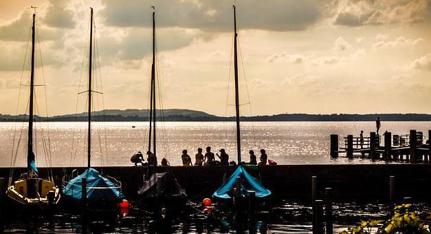 Summer, Youth, Lake, Water, Young People, Boats, Kai