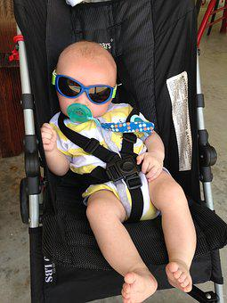 Cool, Baby, Sunglasses, Hot, Summer, Stroller, Outing