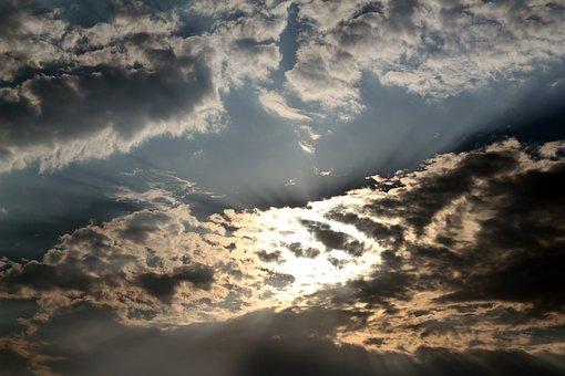 Sunlight, Sunrays, Rays, Clouds, Colorful, Deep