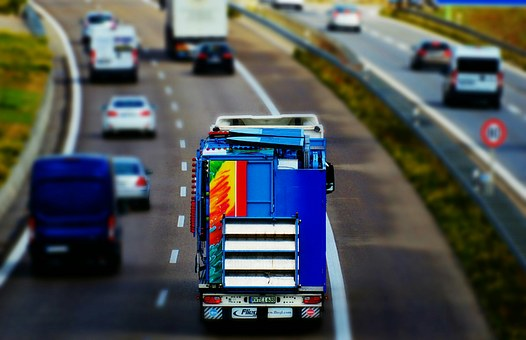 Highway, Truck, Traffic, Tilt Shift