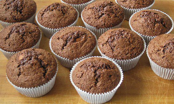 Muffins, Chocolate, Pastries, Baked Goods, Treat