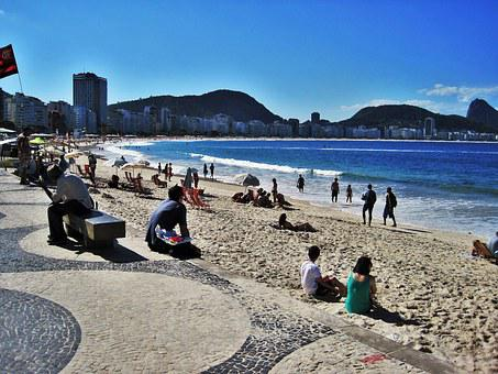 Rio, At The Copacabana, View Of Sugar Loaf Mountain