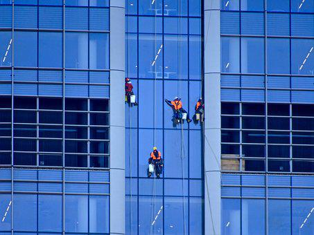 Window Washer, Abseiling, Cleaning, Glass, Building