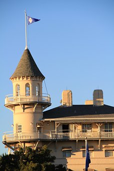 Jekyll Island, Georgia, Resort, Building With Flag
