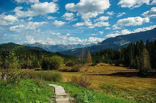 Landscape, Riezlern, Mountains, Clouds, Nature, Vision
