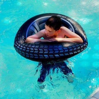 Boy, Swimming Band, Swimming Pool, Float, Merry, Water