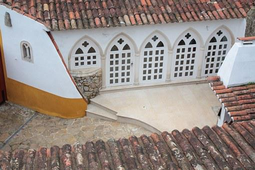 Portugal, Obidos, House, Windows, Roofs