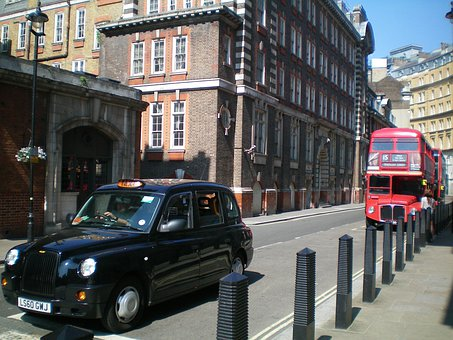 England, London, Building, Street Traffic, Bus, Taxi