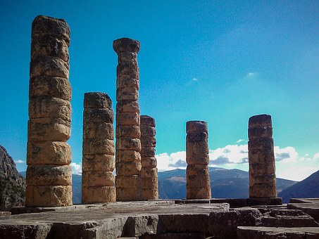 Greece, Delfoi, Holiday, Sky, Columns, Ancient