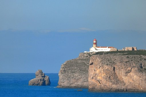 Lighthouse, Kup Sao Vicente, Portugal Algave, Sea, Rock