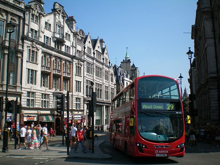 England, London, Building, Street, Traffic, Bus