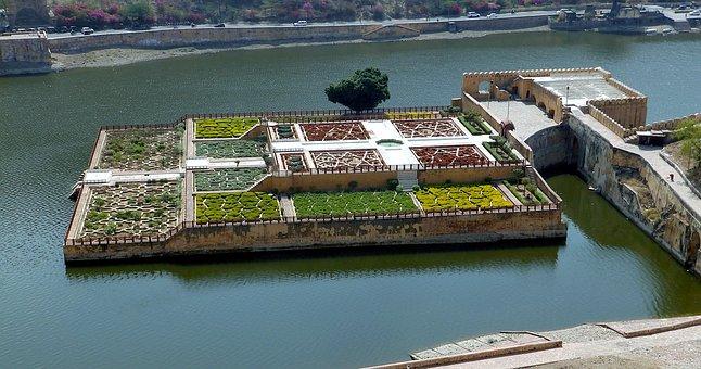 Amber Fort, India, Garden, Lake, Island, Water, Nature