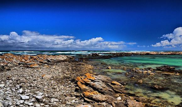Cape Agulhas, Lagoon, Ocean, Blue, Rocks, Nature