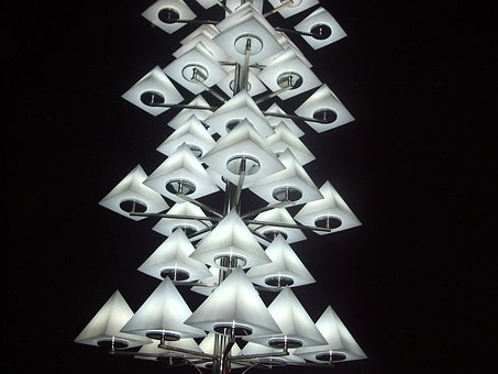 Lights, Sculpture, Pyramid, Quadrilateral