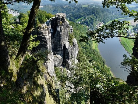 Saxon Switzerland, Panoramic View Of The Bastei Bridge