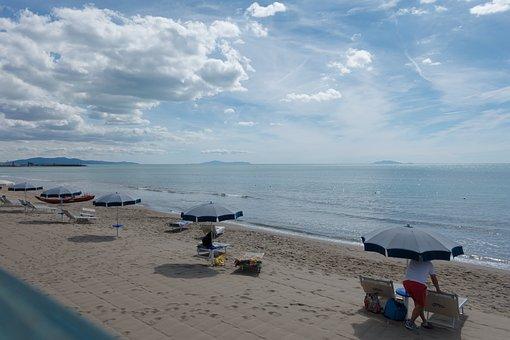 Beach, Sea, Parasols, Island, Sand, Water, Coast