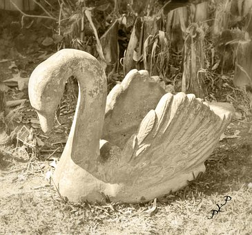 Swan, Sculpture, Stone Figure, Stone, Statue, Waterfowl