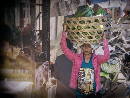 Indonesia, Bali, Market, Bananas, Klungkung, Woman