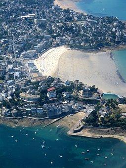 Dinard, Brittany, Sea, Beach, France, Aerial View