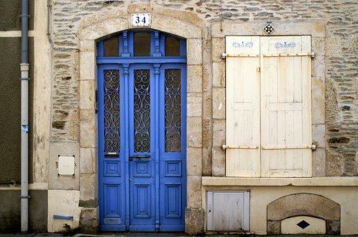 France, Cherbourg, Door, Blue, House Entrance, Wood