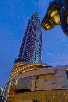 Dubai, Skyscraper, City, Fountain