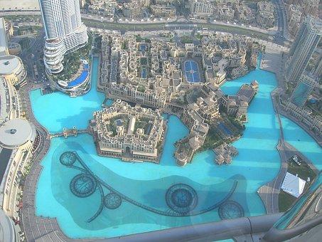 Dubai, Fountain, Tower