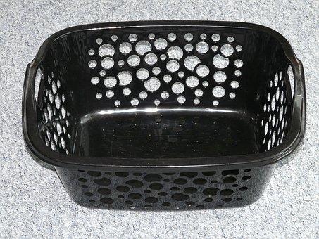 Laundry Basket, Basket, Plastic, Black, Laundry