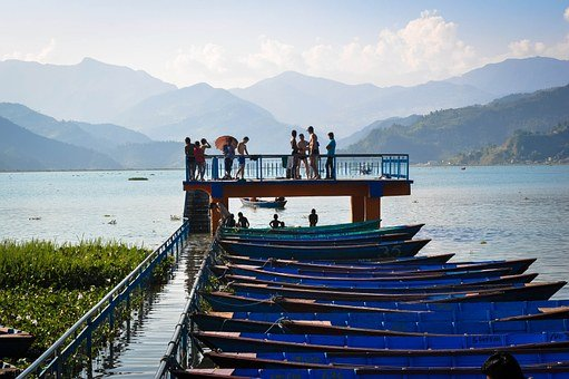 Jetty, Boats, Lake, Fewa Lake, Pokhara, Nepal